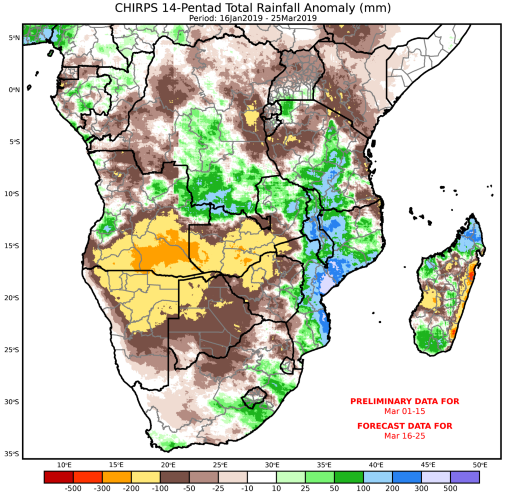 This graphic integrates monitoring and forecast precipitation to show the most recent 60 days of rainfall with a 10-day rainfall forecast to show a 70-day anomaly integrating observed and anticipated conditions.