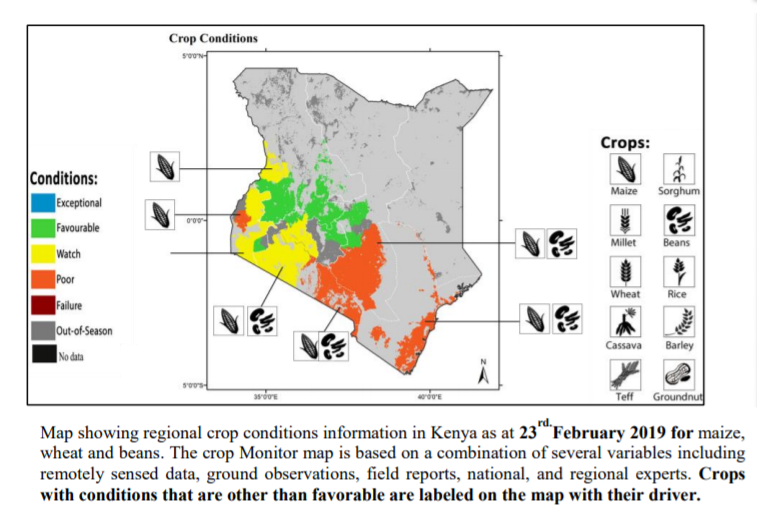 Map showing regional crop conditions information in Kenya as at 30th January 2019 for maize. The Map represents the end of short rains maize performance assessment.