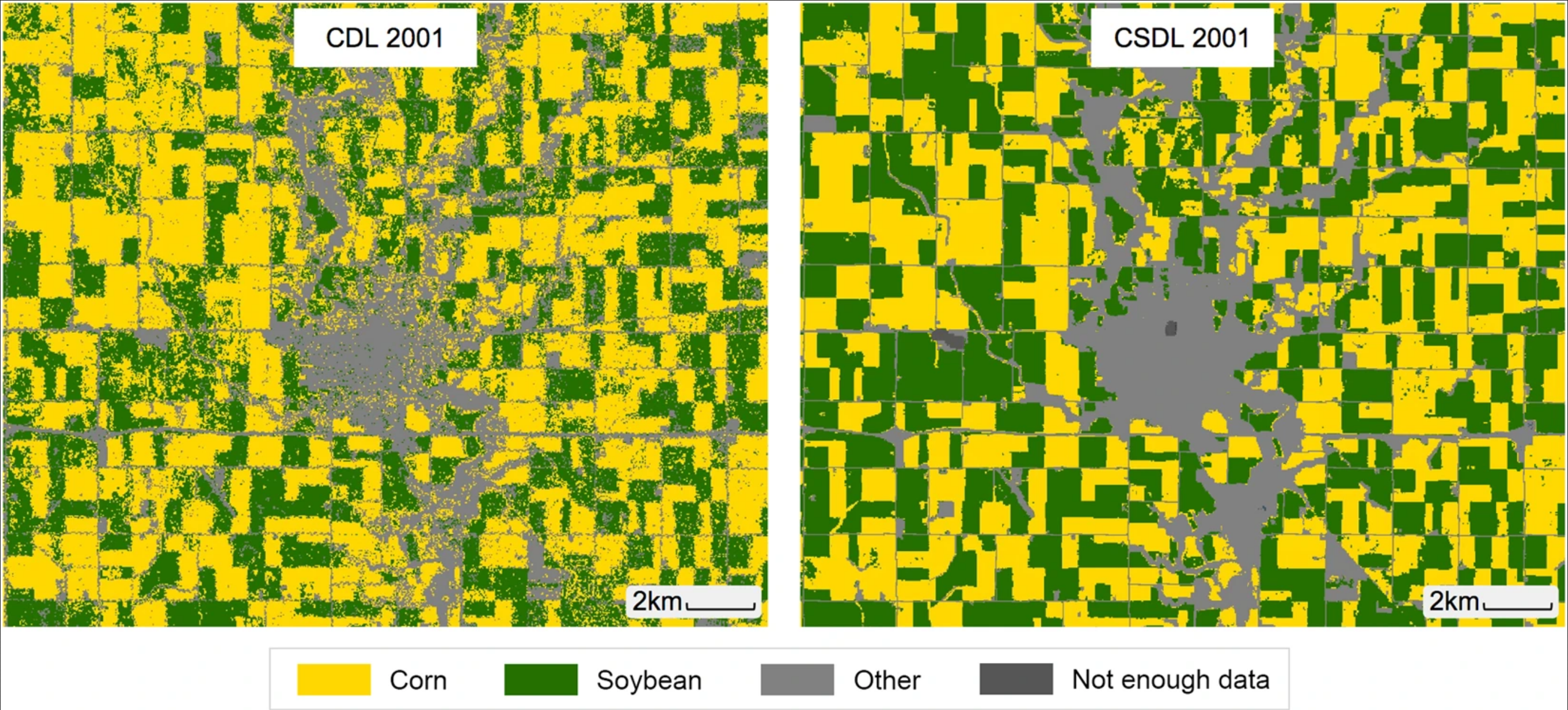 Corn and soybean classification around Webster City, Hamilton County, Iowa in 2001. The USDA's Cropland Data Layer is shown on the left and the author's re-vamped Corn-Soy Data Layer is on the right.