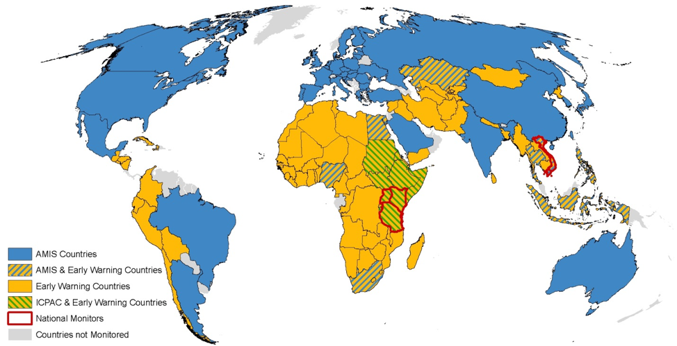 Figure 2. Coverage of countries by Crop Monitor for AMIS, Crop Monitor for Early Warning, regional, and national monitors.