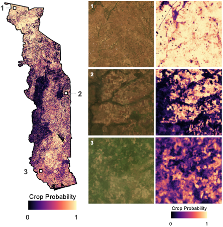NASA Harvest's 10m map of Togo croplands.