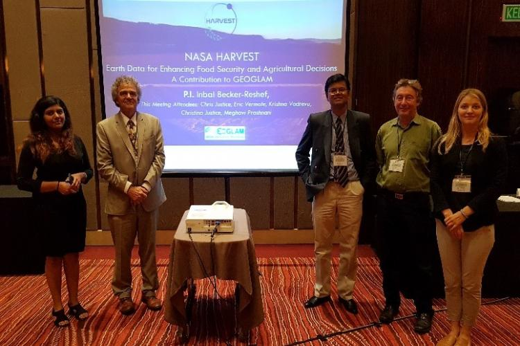 NASA Harvest team members at the LCLUC SARI Regional Science Meeting in Johor Bahru, Malaysia. Right to Left: Meghavi Prashnani, Chris Justice, Krishna Vadrevu, Eric Vermote, Christina Justice