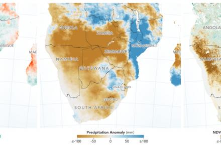 December 2018-February 2019 images of drought in Southern Africa - precipitation/NDVI/soil moisture